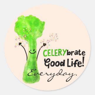 Adesivo Redondo Chalaça positiva do aipo - boa vida de Celerybrate