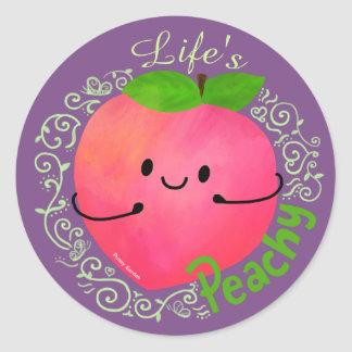 Adesivo Redondo Chalaça positiva do pêssego - Peachy