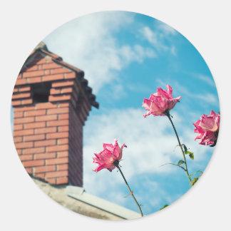 Adesivo Redondo Chaminé e rosas selvagens