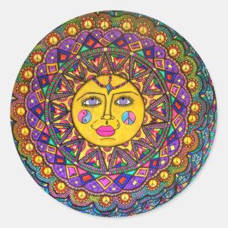 Adesivo Redondo Chamou Luz do sol, etiqueta, arte do Hippie
