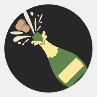 Adesivo Redondo Champagne de estalo Emoji