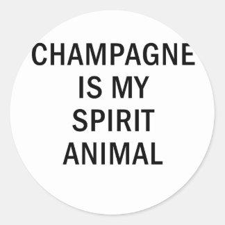 Adesivo Redondo Champagne é meu animal do espírito