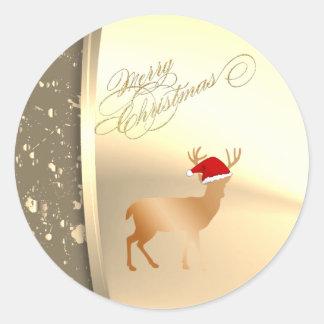 Adesivo Redondo Chapéu na moda do papai noel da rena do Natal,
