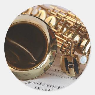 Adesivo Redondo Chaves de Notenblatt do brilho do ouro da música