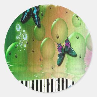 Adesivo Redondo Chaves do piano das borboletas