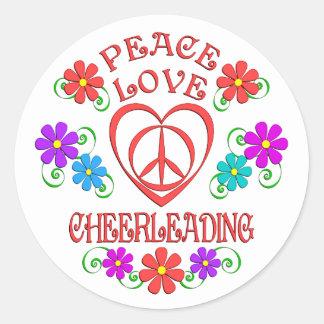 Adesivo Redondo Cheerleading do amor da paz
