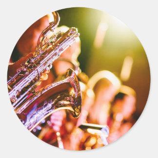 Adesivo Redondo Chifres dos saxofones dos instrumentos musicais da