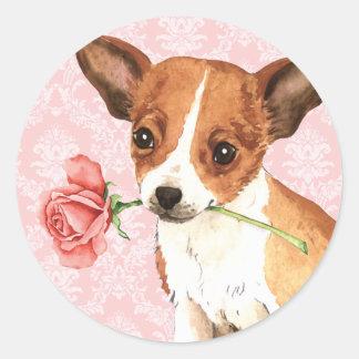 Adesivo Redondo Chihuahua cor-de-rosa dos namorados