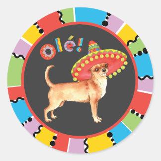 Adesivo Redondo Chihuahua da festa