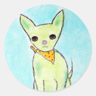 Adesivo Redondo Chihuahua verde da menina