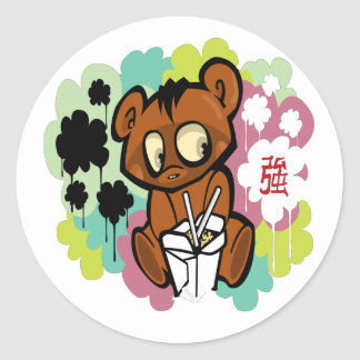 Adesivo Redondo Chinês bonito dos desenhos animados do bebê do
