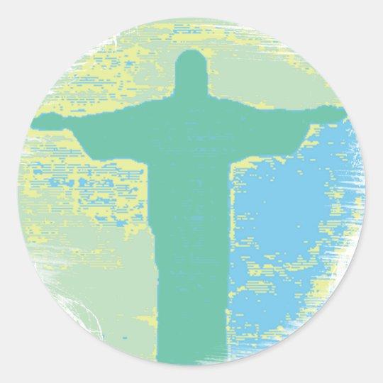 "Adesivo Redondo ""Christ"" Rio-Brazil"
