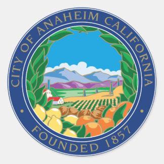 Adesivo Redondo Cidade do logotipo de Anaheim