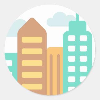 Adesivo Redondo Cidade moderna Emoji