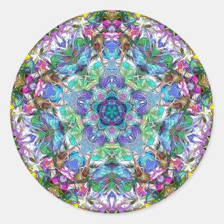 Adesivo Redondo Cinco pontos do abstrato da cor