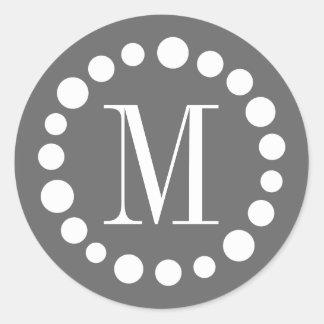 Adesivo Redondo Cinza do monograma