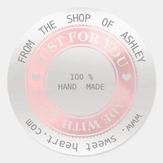 Adesivo Redondo Cinzas Handmade do rosa da prata do amor do