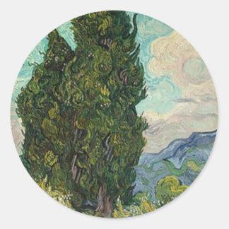 Adesivo Redondo Ciprestes de Van Gogh