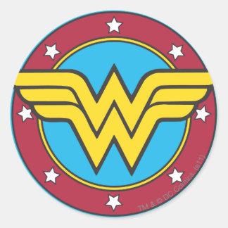 Adesivo Redondo Círculo da mulher maravilha | & logotipo das