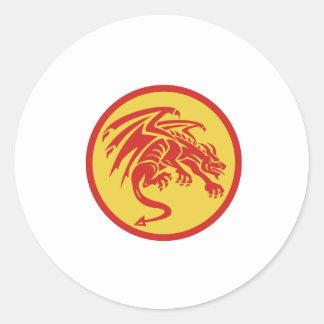 Adesivo Redondo Círculo de agachamento da gárgula do dragão retro