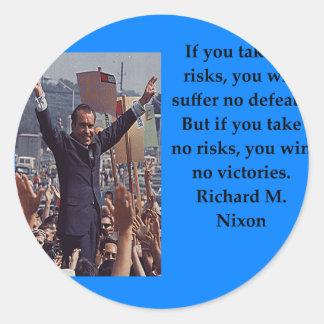 Adesivo Redondo Citações de Richard Nixon