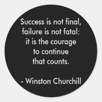 Adesivo Redondo Citações de Winston Churchill; Sucesso