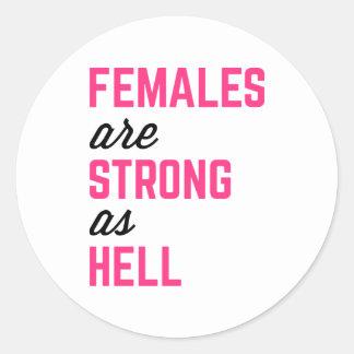 Adesivo Redondo Citações fortes do Gym do inferno das fêmeas