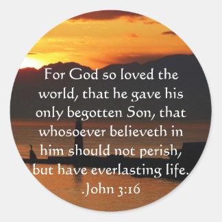 Adesivo Redondo Citações inspiradas cristãs do 3:16 de John