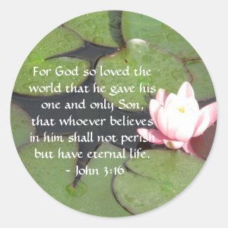 Adesivo Redondo Citações inspiradas da escritura do 3:16 de John