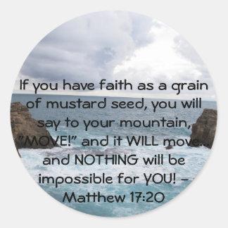 Adesivo Redondo Citações inspiradores da bíblia do 17:20 de