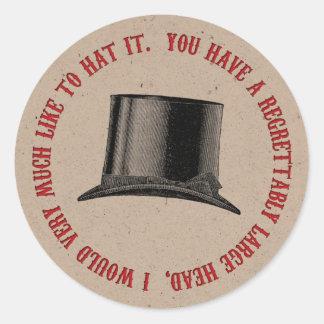 Adesivo Redondo Citações loucas do chapéu do partido do Hatter