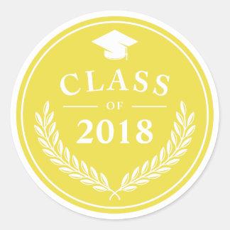 Adesivo Redondo Classe amarela da grinalda do louro da graduação