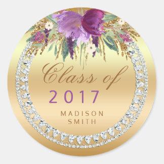 Adesivo Redondo Classe de graduação do ouro de 2017 diamantes das