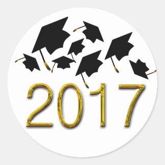 Adesivo Redondo Classe dos chapéus da graduação do vôo de 2017
