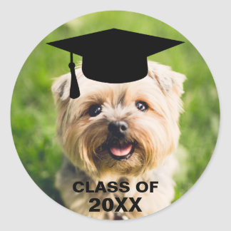 Adesivo Redondo Classe personalizada da foto do cão graduação