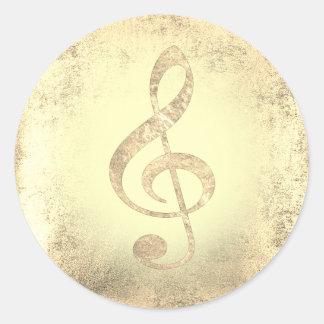 Adesivo Redondo clef de triplo dourado da música