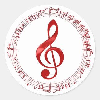 Adesivo Redondo Clef de triplo vermelho em notas da música