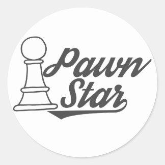 Adesivo Redondo clube de xadrez da estrela do penhor