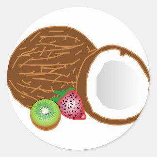 Adesivo Redondo Cocos tropicais do quivi
