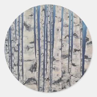 Adesivo Redondo Código Morse das árvores de vidoeiro