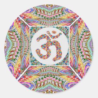 Adesivo Redondo Coleção da jóia da mantra do OM
