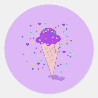 Adesivo Redondo Colher do sorvete roxo dos confetes