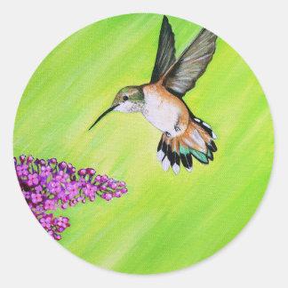 Adesivo Redondo Colibri e Lilac