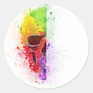 Adesivo Redondo Colorful Skull - Caveira Colorida