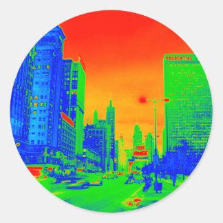 Adesivo Redondo Colorido de néon da noite 1967 da avenida de