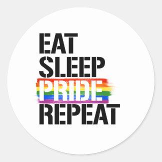 Adesivo Redondo Coma a repetição do orgulho do sono - - os