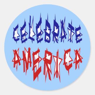 Adesivo Redondo Comemore a pia batismal #2 da bandeira de América