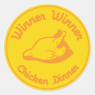 Adesivo Redondo Comensal da galinha do vencedor do vencedor