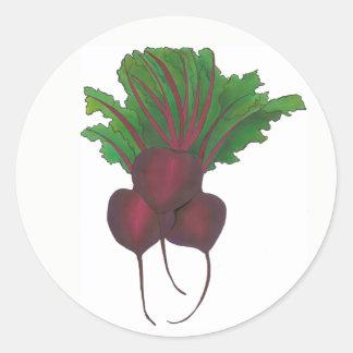 Adesivo Redondo Comida de jardinagem do vegetariano vegetal do