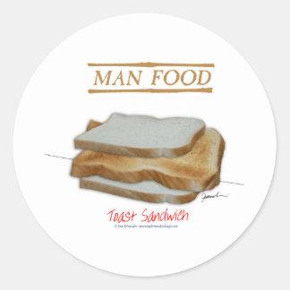 Adesivo Redondo Comida do homem de Tony Fernandes - sanduíche do